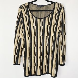 Evan Picone black and tan long sleeve sweater